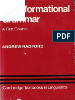 Andrew Radford Transformational Grammar a First Course Cambridge Textbooks in Linguistics 1988