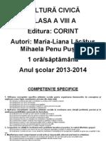 PLANIFICARE CULTURĂ CIVICĂ CLS A VIII-A 2013-2014