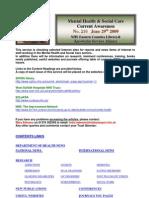 Mental Health Bulletin No 210 June 29th 2009
