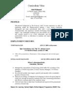 Pharmaceutical Marketing Executive C.V.Abid Mahmud available in UK.