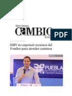 23-09-2013 Diario Matutino Cambio de Puebla - RMV no esperará recursos del Fonden para atender caminos