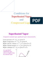 Conditions for Compressed Liquid and Super Heated Vapor