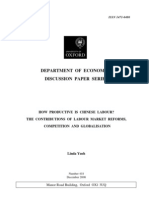 Chinese Labour Productivity - Labour Market Reform, Competition and Globalisation
