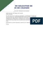 Modelo de Solicitud de Traslado de Colegio