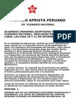 #VersiónFinal PARTIDO APRISTA PERUANO 59° PLENARIO NACIONAL  ACUERDOS UNANIMES