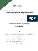 Estudo Experimental sobre as características de betões de pedra-pomes dos Açores