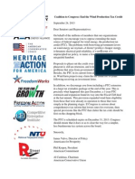 Coalition Letter to End Wind Production Tax Credit