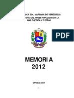 Memoria y Cuenta 2012 Tomo I y II _19!01!2013