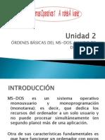 2 MS-DOS comandos internos y externos; ejercicios de gestión de directorios