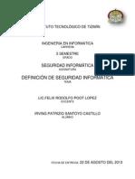 Definición de seguridad informática.