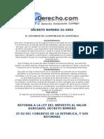 decreto numero 32-2003 reformas a la ley del iva