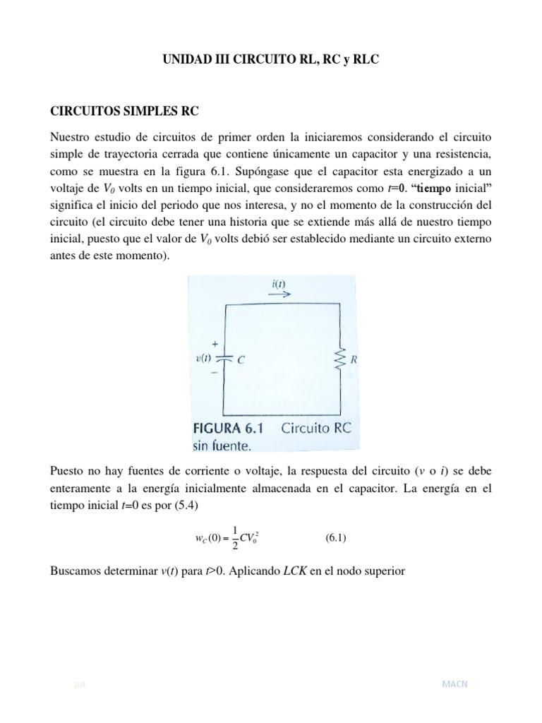 Circuito Lc : Unidad circuito rl rc y rlc