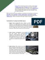 Ten Benefits of Creating Good Public Spaces