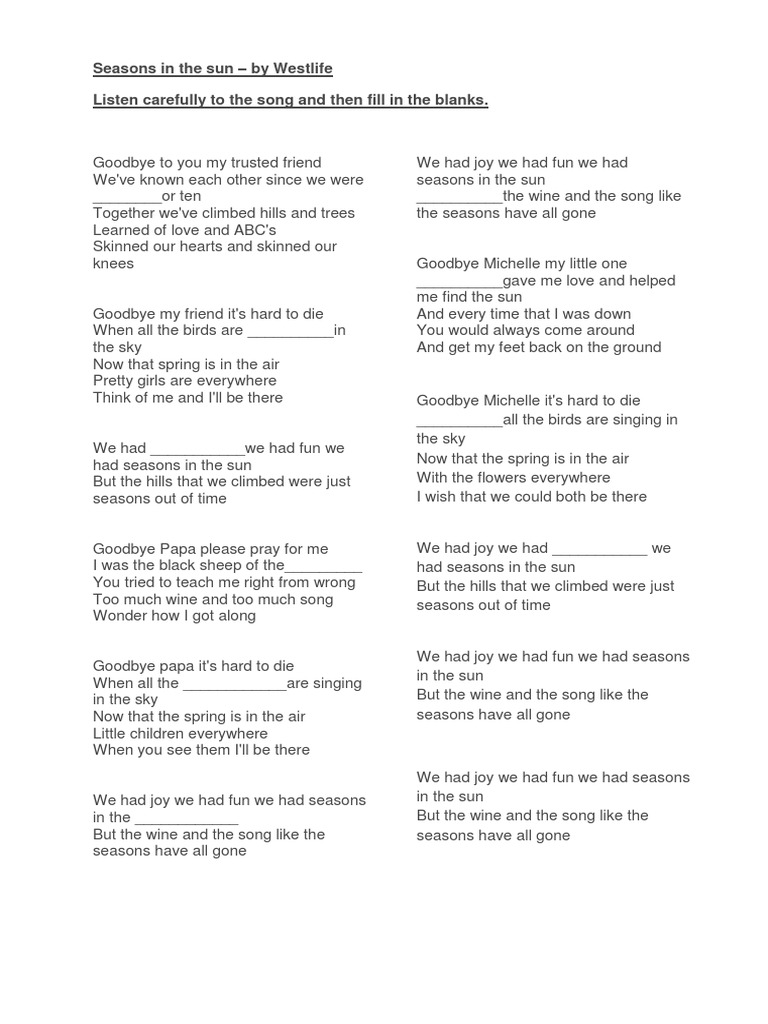 Seasons in the Sun Lyrics