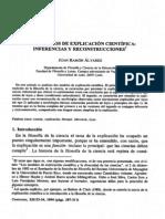 Alvarez - dos modelos de explicación científica, inferencias y reconstrucciones