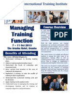 MANAGEMENT OF TRAINING FUNCTION COURSE