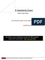RBI Assistants Exam Previous Year Solved Paper