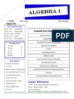 8th grade algebra 1 parent syllabus