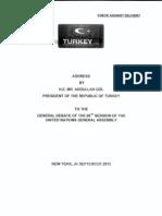 Turkish President Abdullah Gül United Nations Speech