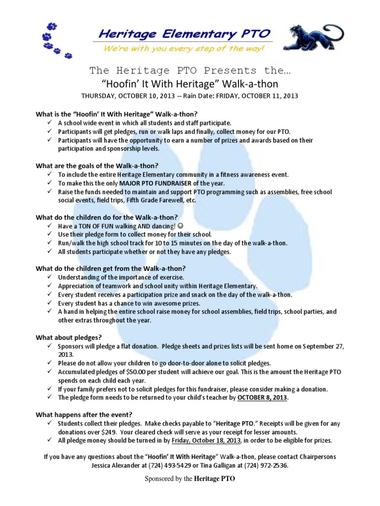 walkathon hoofin it with heritage parent info sheet fundraising society