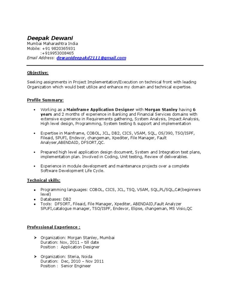 deepak dewani resume mainframe 6 yrs  ibm db2  unit testing