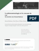 La phénoménologie et le concept de vie Un entretien avec Renaud Barbaras