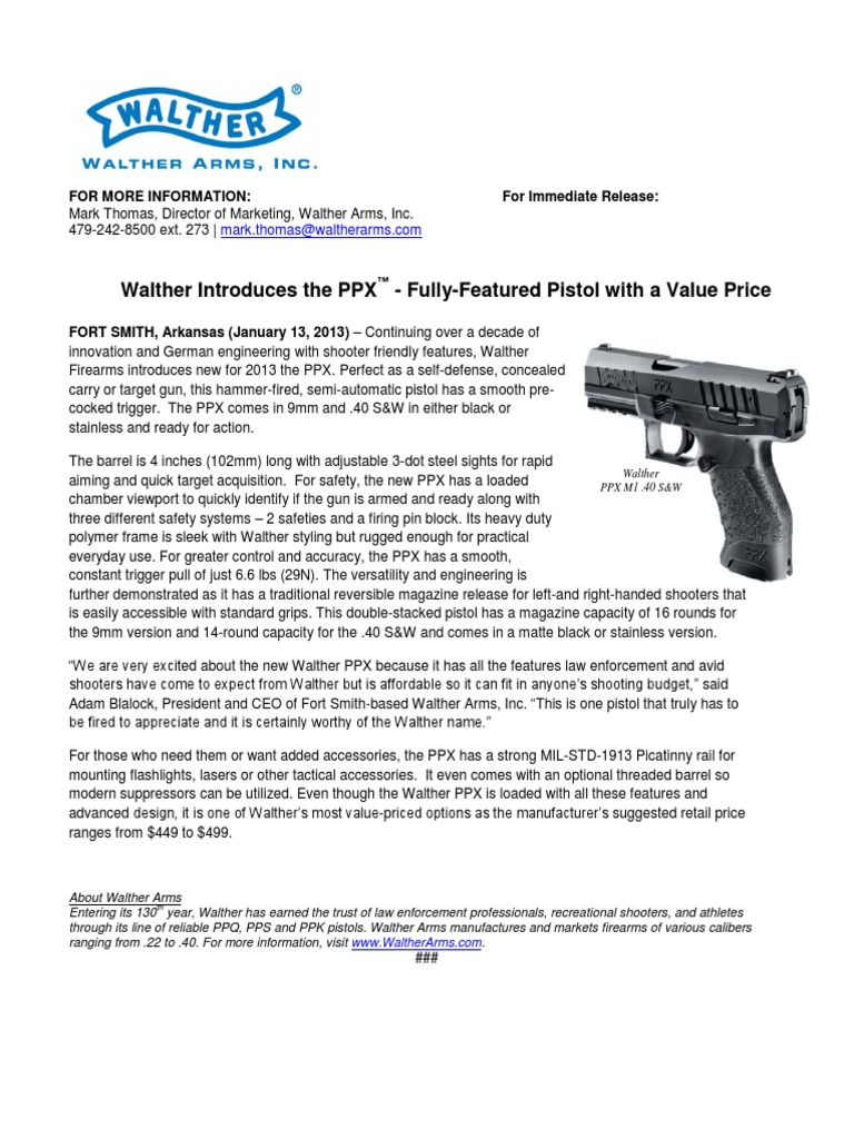 Walther Introduces PPX | Trigger (Firearms) | Military Equipment