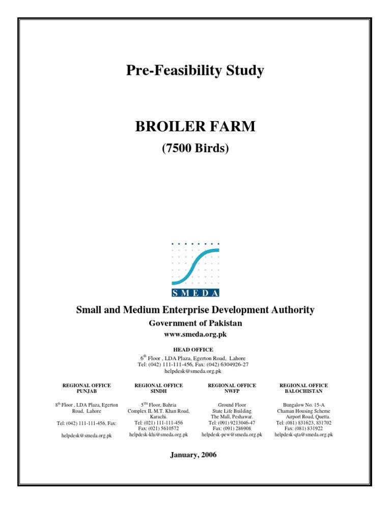 SMEDA Poultry Farm (7,500 Broiler Birds)   Poultry Farming