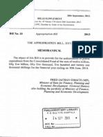 Appropriation Bill 2013