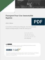 Passeport Pour Une Immortalité Espérée