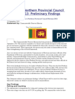 Sri Lanka's Northern Provincial Council Elections 2013  Preliminary Findings