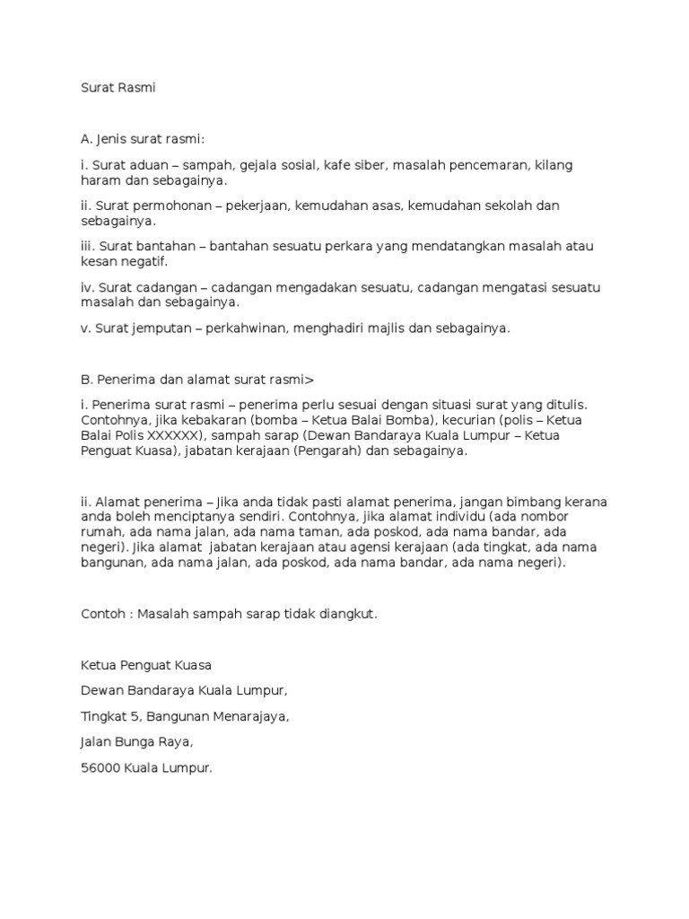 surat rasmi spm skema format contoh dan latihan