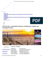 ICBCNS Paris 2014_ International Conference on Behavioral, Cognitive and Neurological Sciences