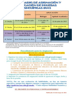 Calendario de Pruebas Especificas 2013