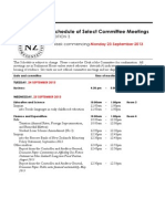 New Zealand Select Committee Meetings for week beginning September 23, 2013
