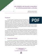 Comunicacion Didactica Del Docente Universitario en Entornos Presenciales y Virtuales