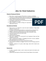 HR Policy for Hotel Industries
