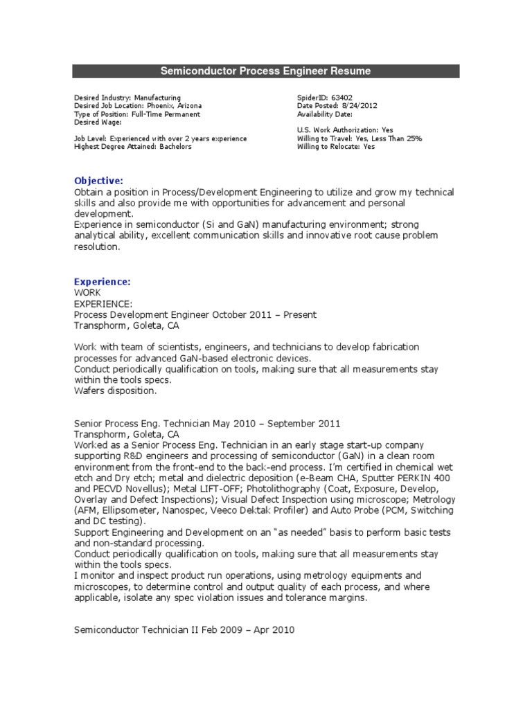Semiconductor Process Engineer Resume Semiconductor Device