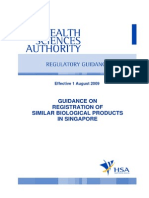 Guidance on Registration of Similar Biological Products in Singapore