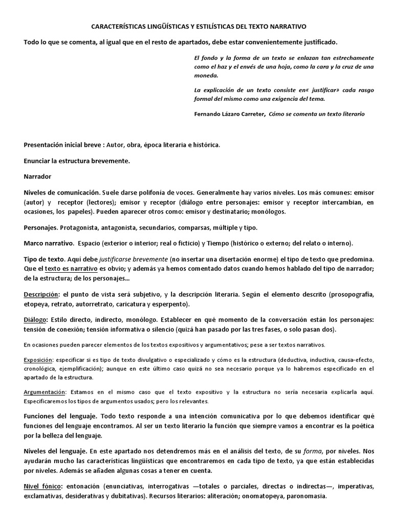 CARACTERÍSTICAS LINGÜÍSTICAS Y ESTILÍSTICAS DEL TEXTO NARRATIVO