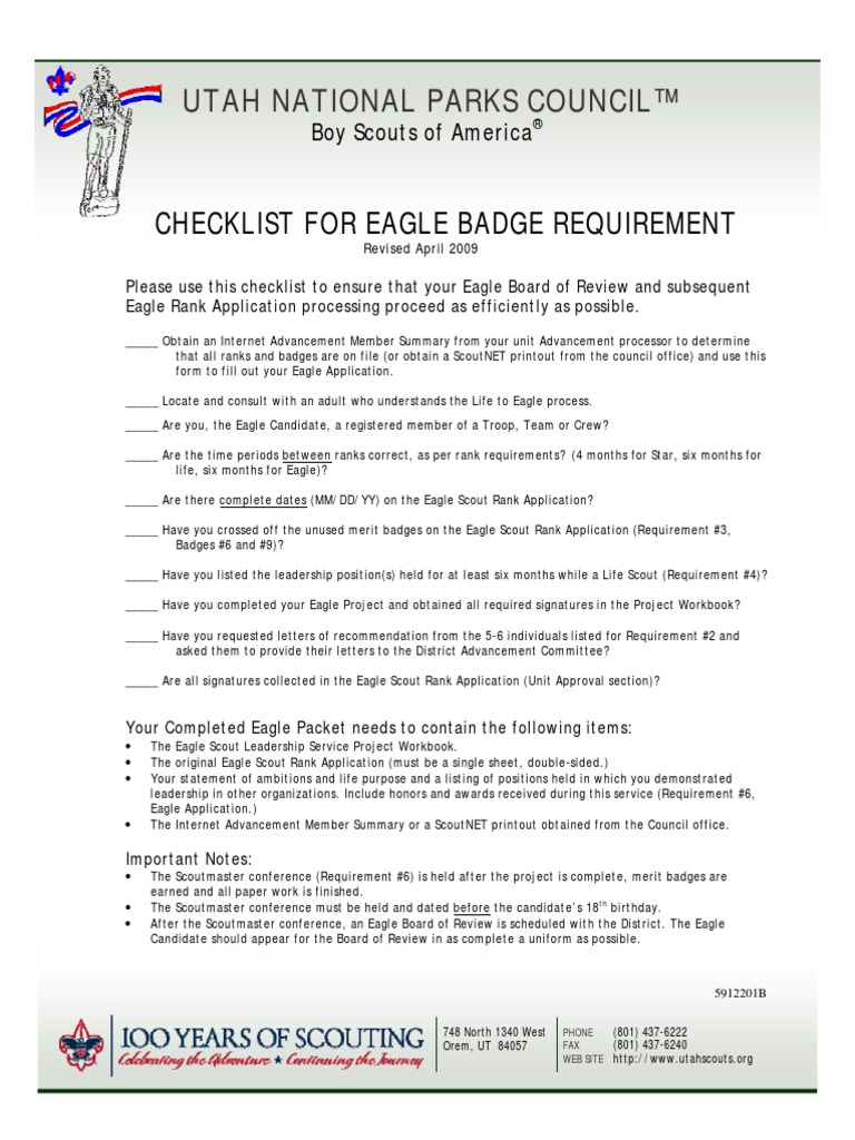 4 eagle scout checklist for eagle | Girl Guiding And Girl Scouting ...