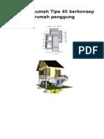 Desain Rumah Tipe 45 Berkonsep Rumah Panggung