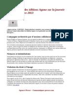 Communiqué des éditions Agone sur la journée du 20 septembre 2013