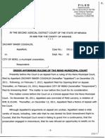 3 15 12 2JDC Judge Elliott Order Affirming Ruling of the Reno Municipal Court RMC Violating NRS 189.035 Judicial Misconduct