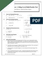 College Level Math Practice Test