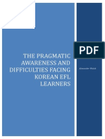 The Pragmatic Awareness and Difficulties Facing Korean EFL Learners