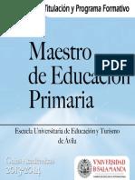 Grado Maestro Educacion Primaria EUdE y Turismo Avila 2013