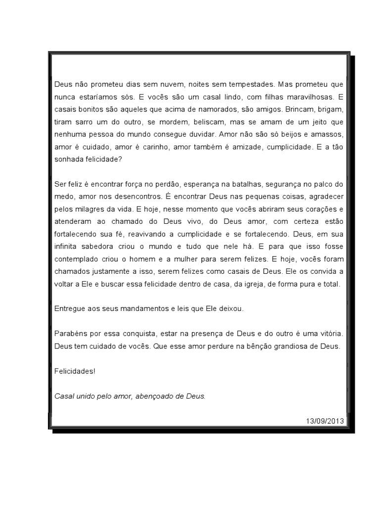 Carta Para Encontro De Casais Católico