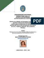 DISEÑO DE UN MODELO PARA EL DESARROLLO DEL PENSAMIENTO CREATIVO EN LA PRODUCCIÓN DE CUENTOS