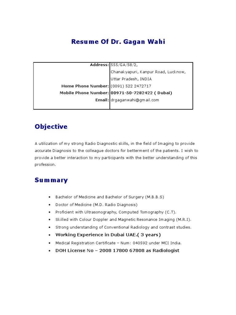 Gagan Resume Radiology Medical Imaging